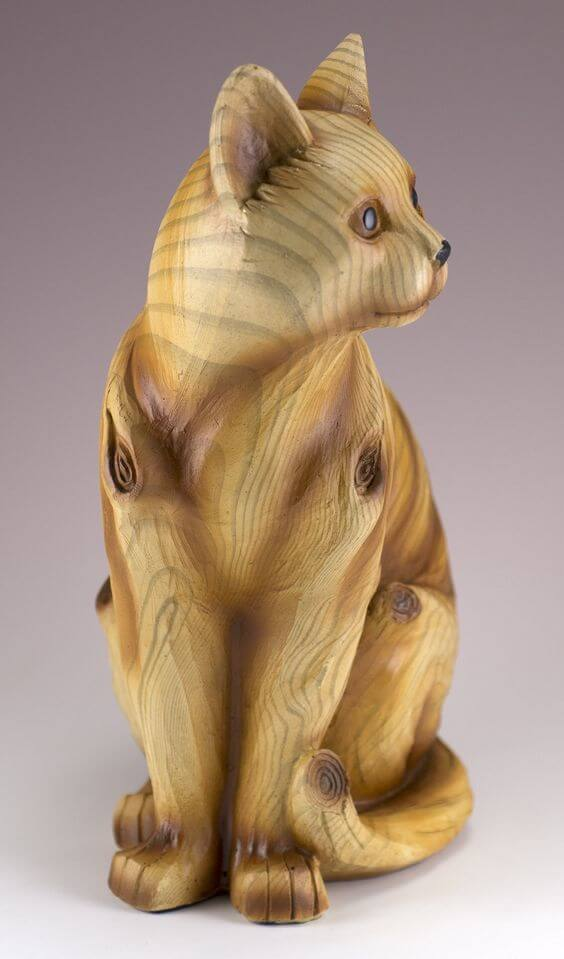 wooden cat sculpture