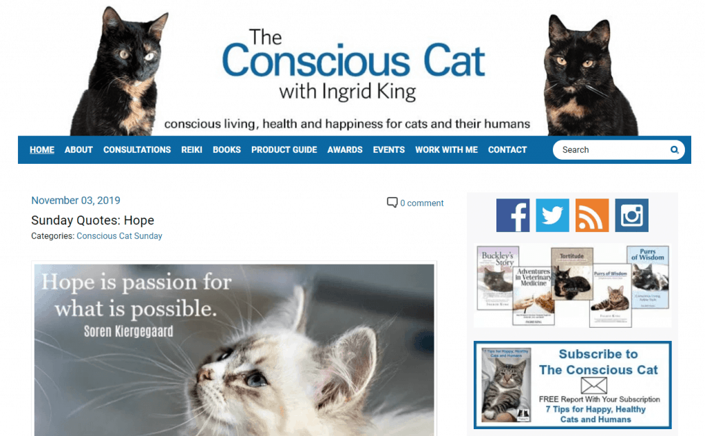The Conscious Cat homepage