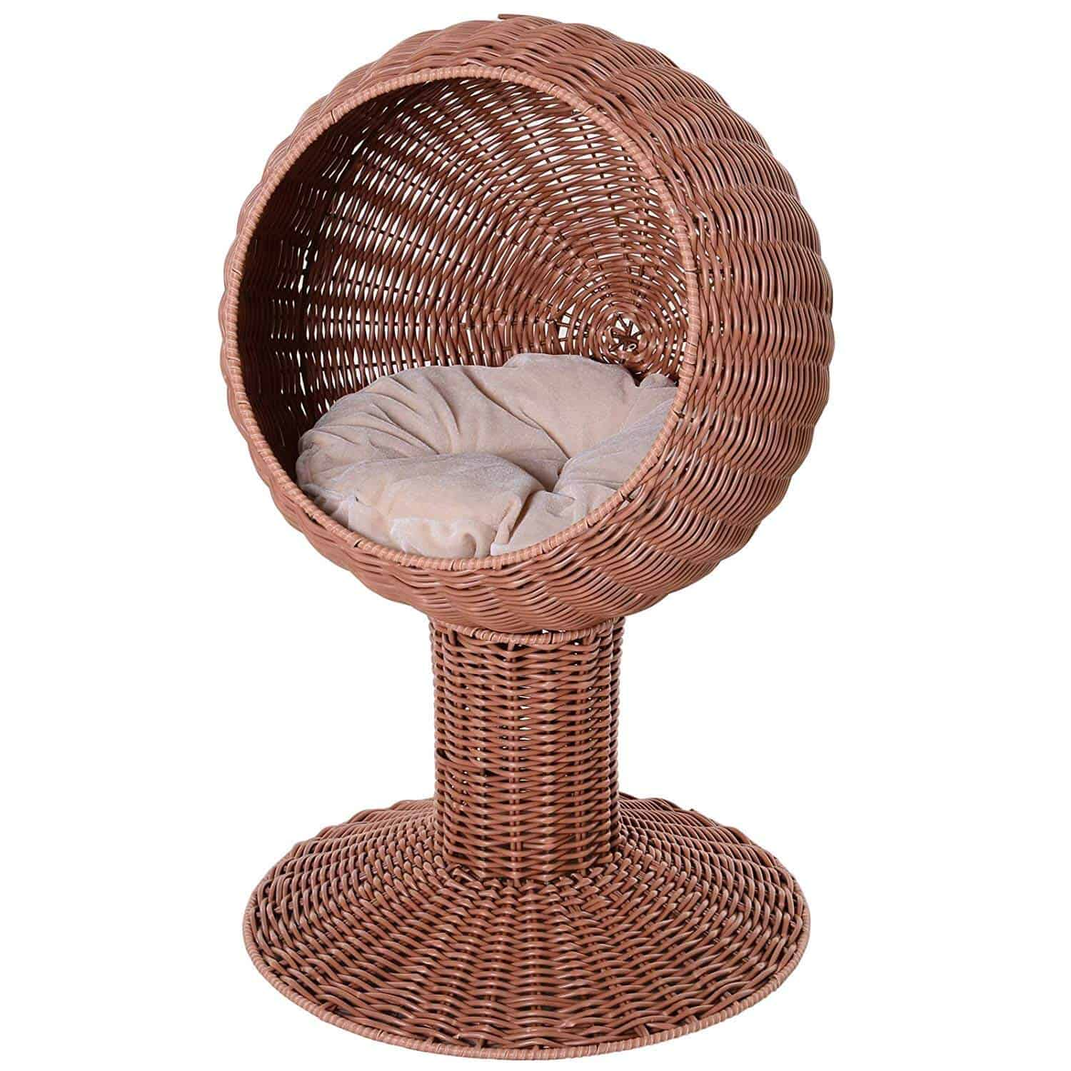 PawHut Hooded Rattan Cat Bed Basket