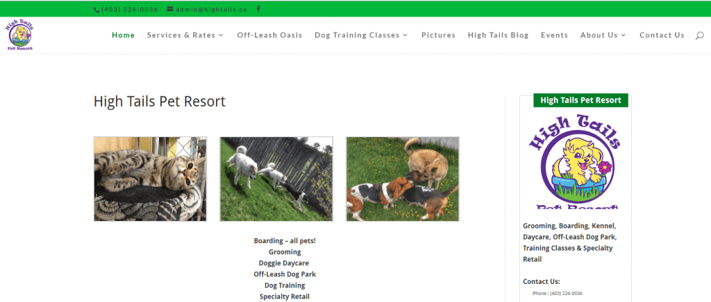 High Tails Pet Resort website