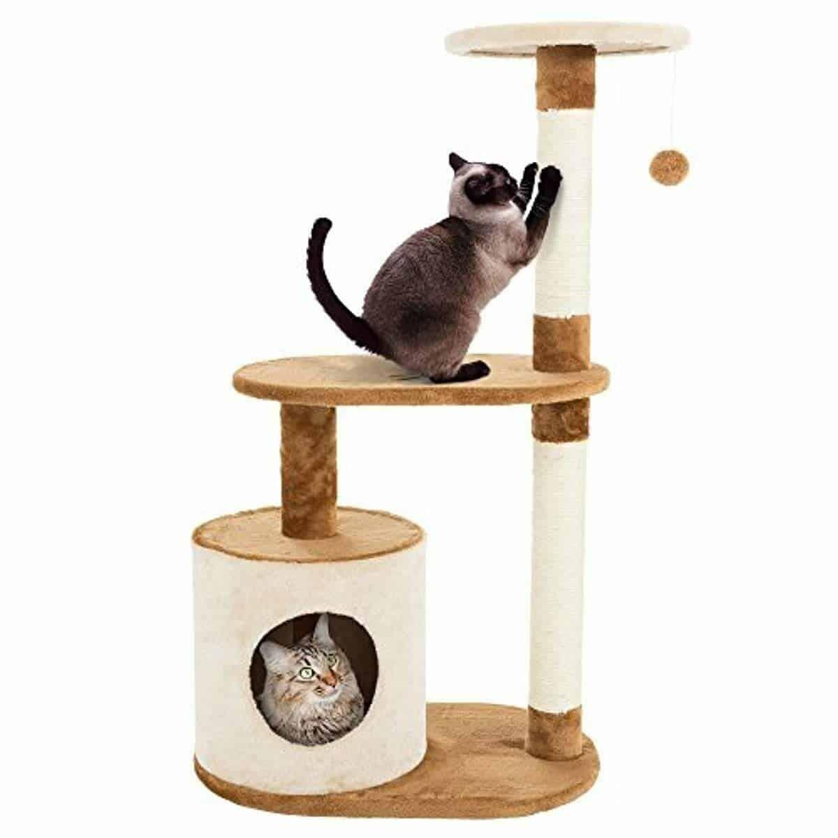 PETMAKER Cat Tree Condo 3 Tier with Condo & Scratching Posts
